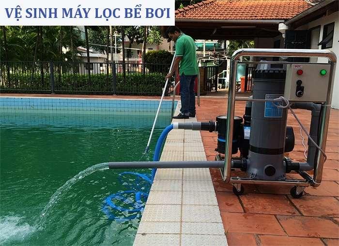vệ sinh máy lọc bể bơi