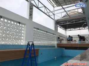 Công trình bể bơi gia đình Anh Huy