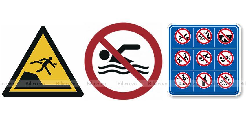 Ba dạng biển báo bể bơi chính