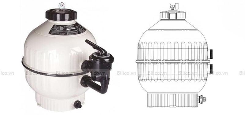Cấu tạo bình lọc bể bơi astral D900 bằng nhựa