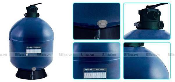 bình lọc bể bơi AKT van đỉnh được thiết kế màu xanh nguyên khối