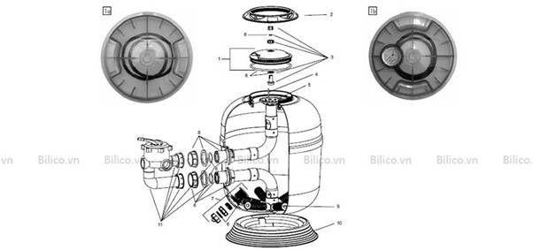 cấu tạo bình lọc bể bơi Procopi RTM CS van ngang