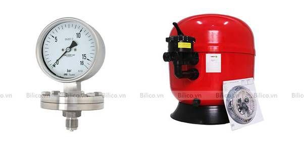 đồng hồ áp suất bình lọc bể bơi Procopi RTM CS van ngang