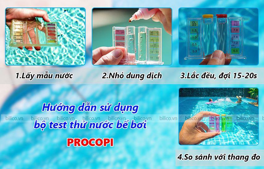 Các bước đo nồng độ pH bằng bộ test thử nước bể bơi