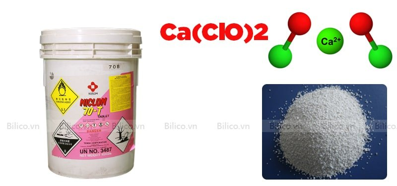 Cấu trúc phân tử hóa chất Chlorine 70% dạng bột