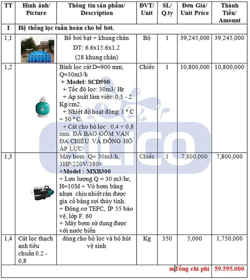 Chi phí hệ thống lọc tuần hoàn bể bơi trường học