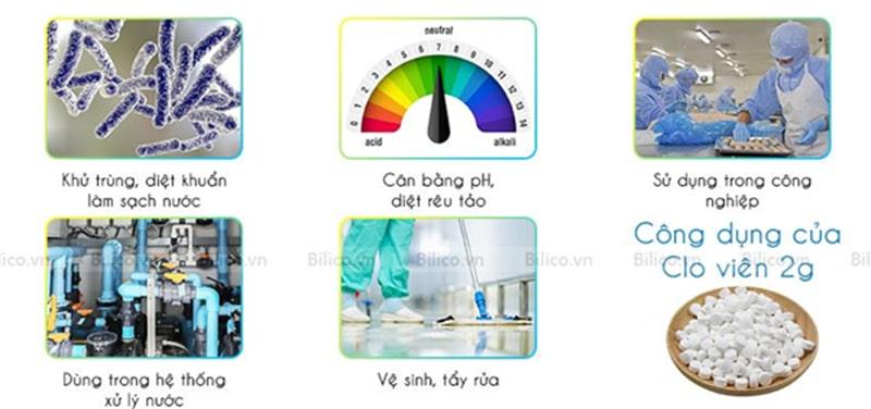 Ứng dụng hóa chất clo viên 2gram