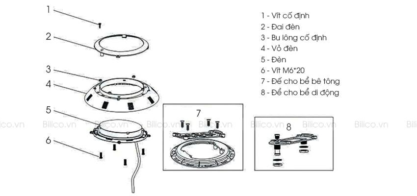 Cấu tạo đèn bể bơi Emaux P100