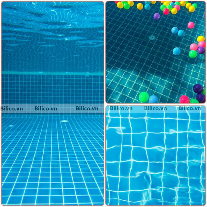Ứng dụng gạch men MC3308 ốp bể bơi