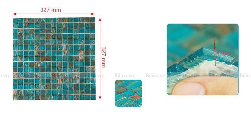 Kích thước gạch mosaic E709