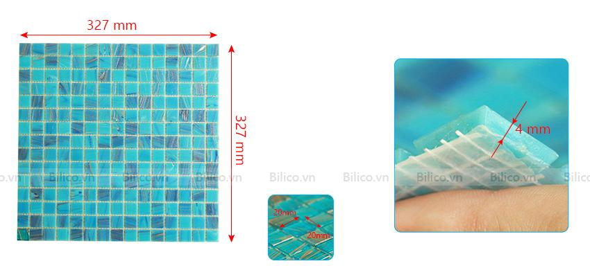 Kích thước gạch mosaic E736