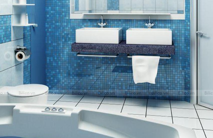Ứng dụng gạch mosaic E736 ốp phòng tắm