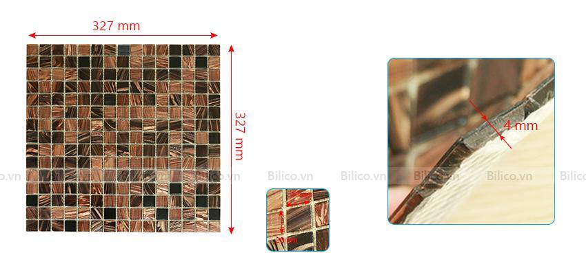 Kích thước gạch mosaic NO.15E
