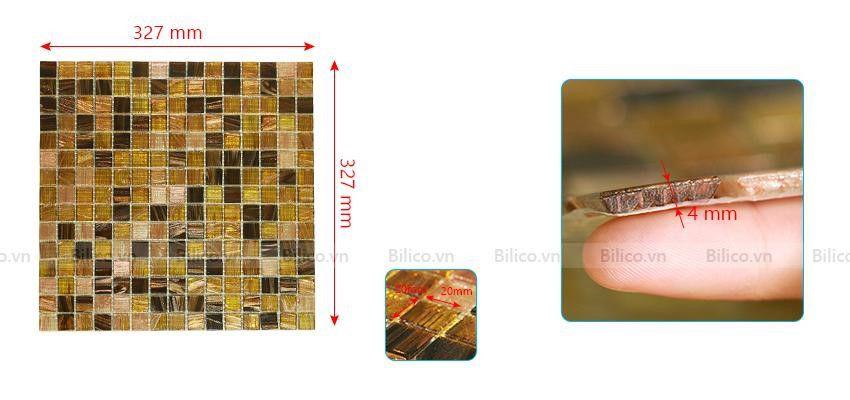 Kích thước gạch mosaicNO.16E