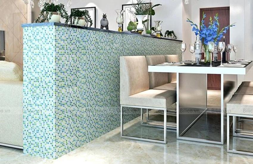 Ứng dụng gạch mosaic NO2001 ốp phòng ăn