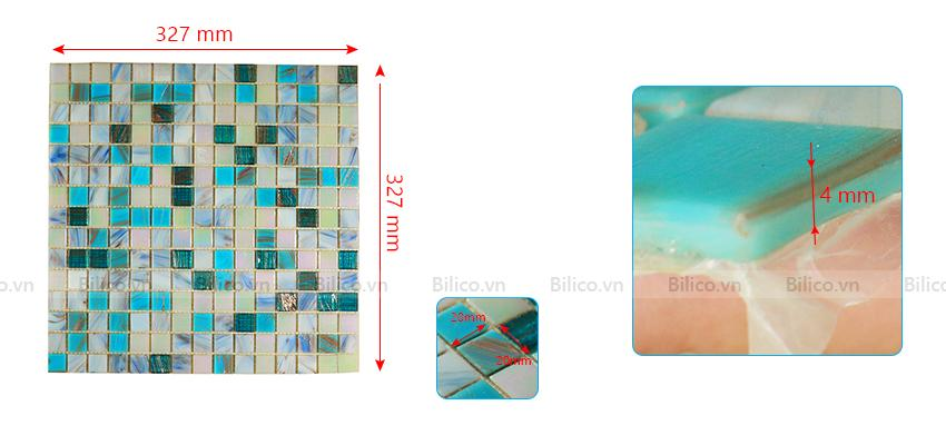 Kích thước gạch mosaic NO2001
