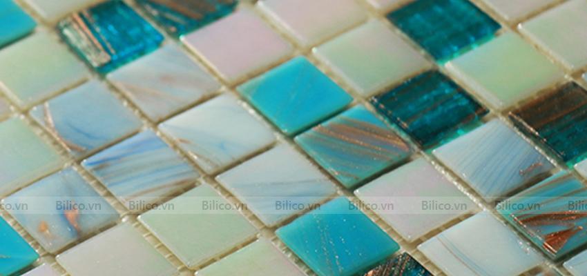 gạch mosaic NO2001 màu xanh chủ đạo