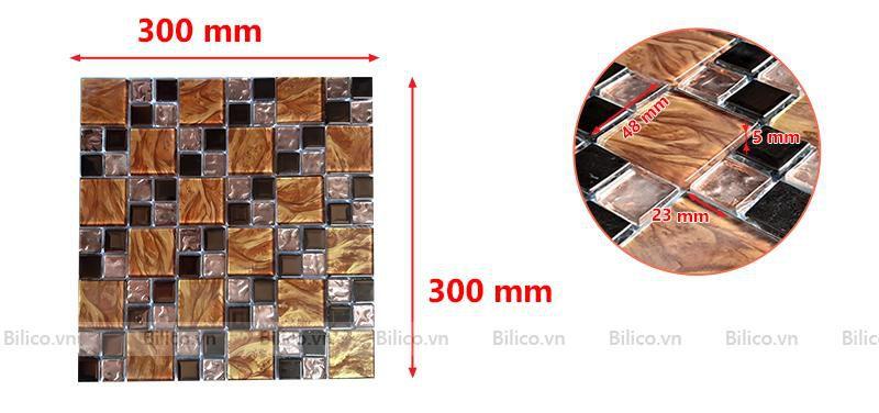 Kích thước vỉ gạch mosaic BV021