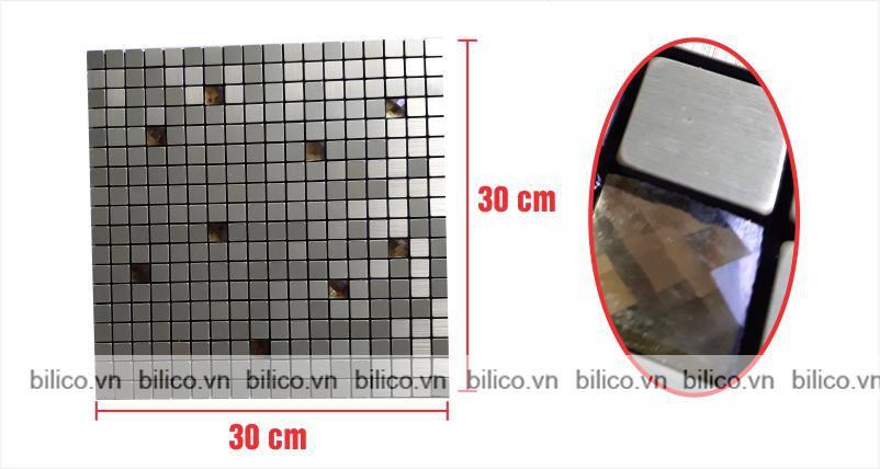 Kích thước vỉ gạch mosaic khảm nhôm BV011