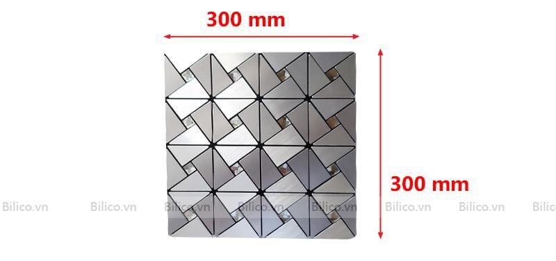 Kích thước vỉ gạch mosaic hợp kim nhôm BV012