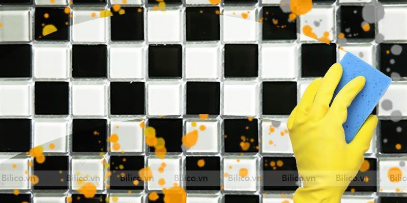 gạch mosaic BV25Đ4 dễ dàng vệ sinh