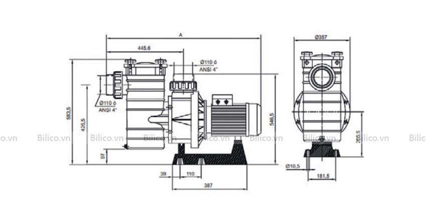 Kích thước bộ phận máy bơm bể bơi Kripsol KAL
