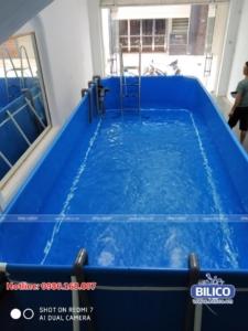 Bể bơi bạt gia đình anh Tùng
