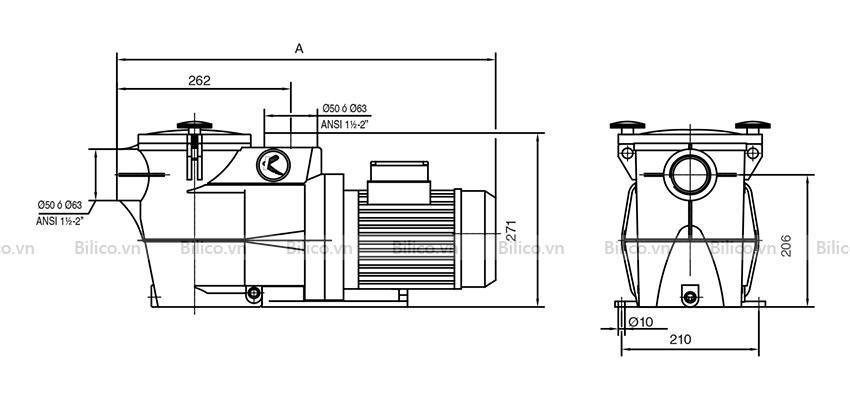 Kích thước bộ phận máy bơm bể bơi Keipsol KSE