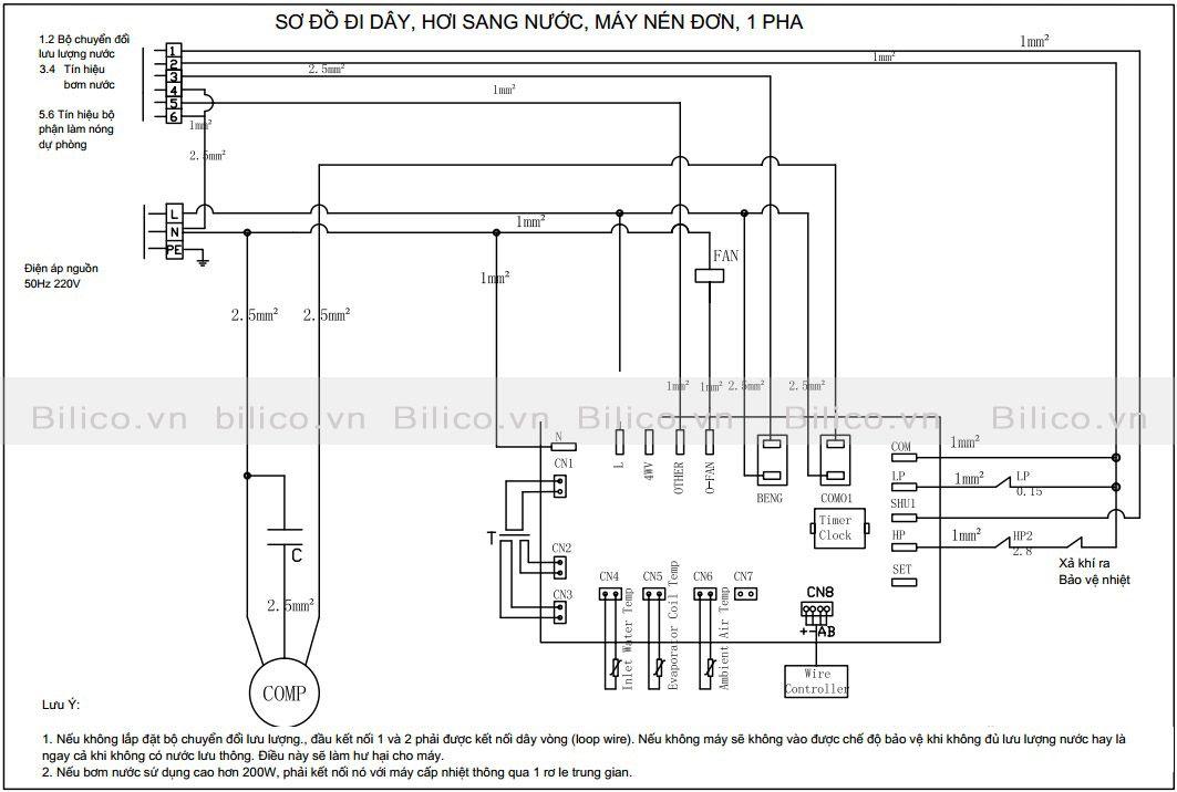Sơ đồ đi dây máy bơm nhiệt bể bơi Sirac LSQ02RC