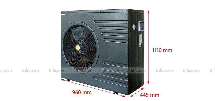 Kích thước máy bơm nhiệt bể bơi Midas Black