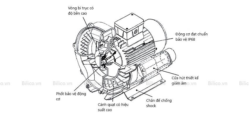 Cấu tạo máy thổi khí con sò Coats HCY1100C