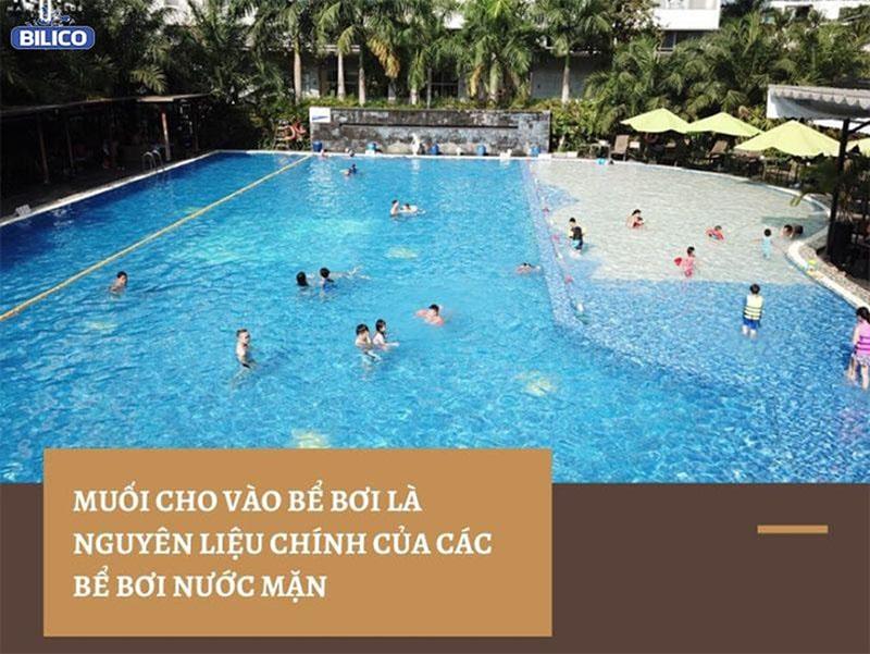 Muối cho vào bể bơi là nguyên liệu chính của bể bơi nước mặn
