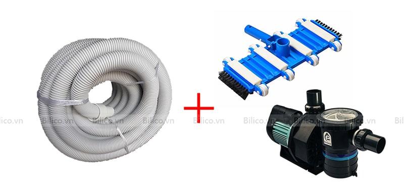 ống mềm hút vệ sinh bể bơi Emaux kết hợp với bàn hút và máy bơm