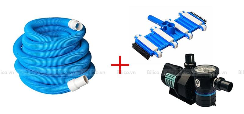 ống mềm hút vệ sinh bể bơi Midas với bàn hút và máy bơm lọc