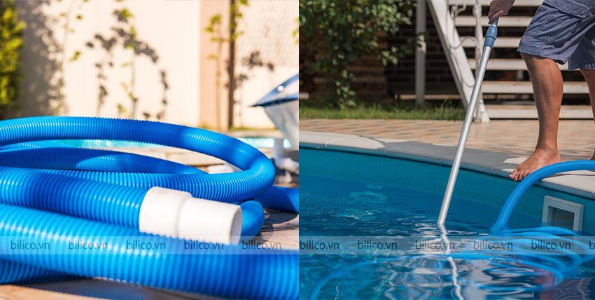 Ứng dụng ống mềm Tafuma hút vệ sinh bể bơi