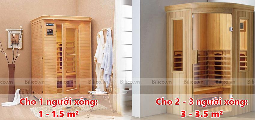 Kích thước phòng xông hơi khô bằng gỗ cho gia đình