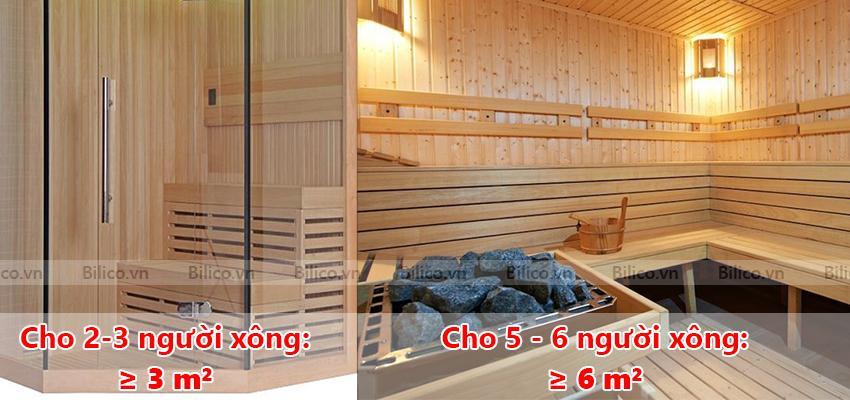 Kích thước phòng xông hơi khô bằng gỗ cho kinh doanh