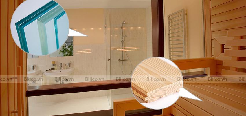 Phòng xông hơi sử dụng gỗ và kinh kết hợp