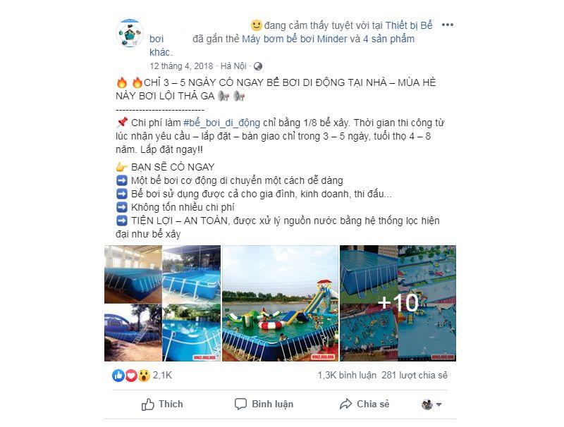 Quảng cáo bể bơi trên Facebook