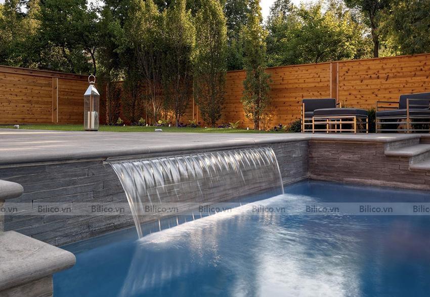 Ứng dụng thác nước thành bể bơi Emaux
