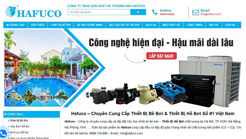 Website công ty thiết bị bể bơi (hồ bơi) Hafuco