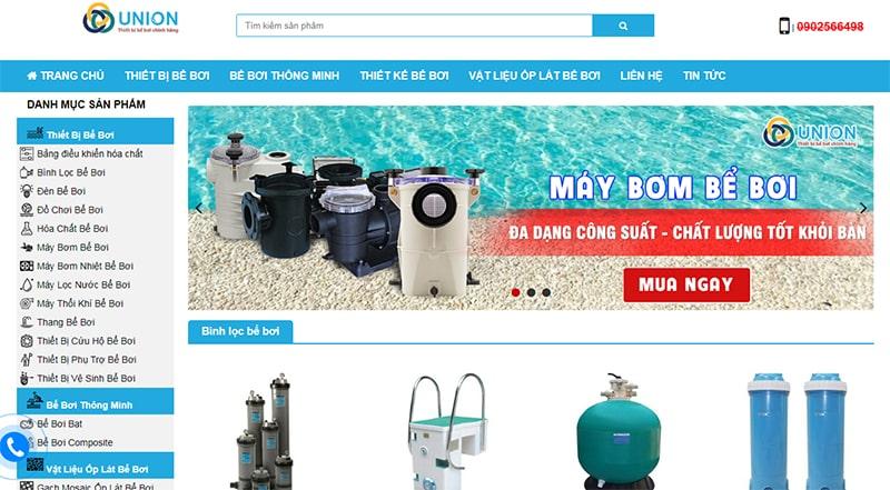 Hình ảnh website công ty thiết bị bể bơi (hồ bơi) Union