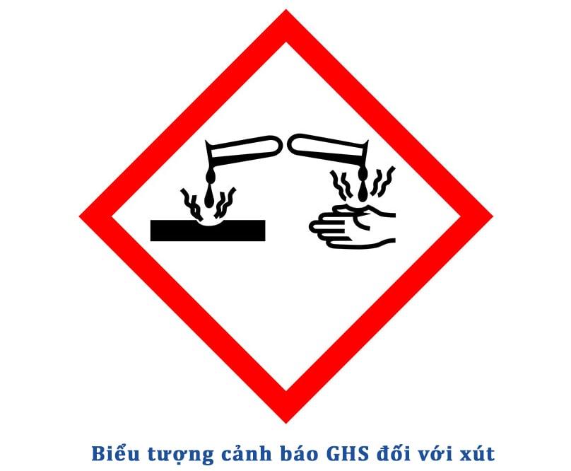 Biểu tượng cảnh báo nguy hiểm với NaOH