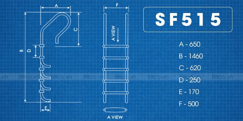 Kích thước thang bể bơi SF515