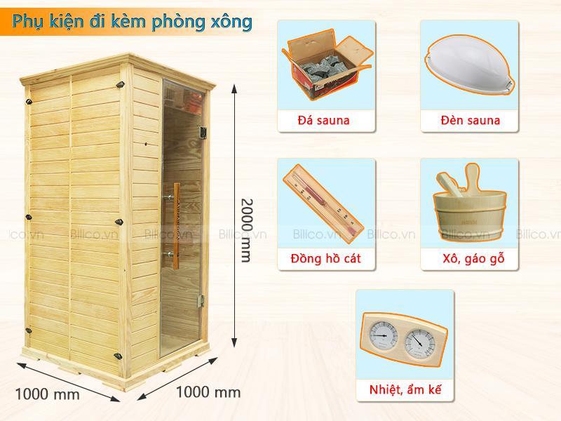 Phụ kiện đi kèm phòng xông đóng sẵn bằng gỗ thông Mỹ