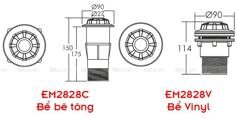 kích thước ống chống thấm thành bể EM2828