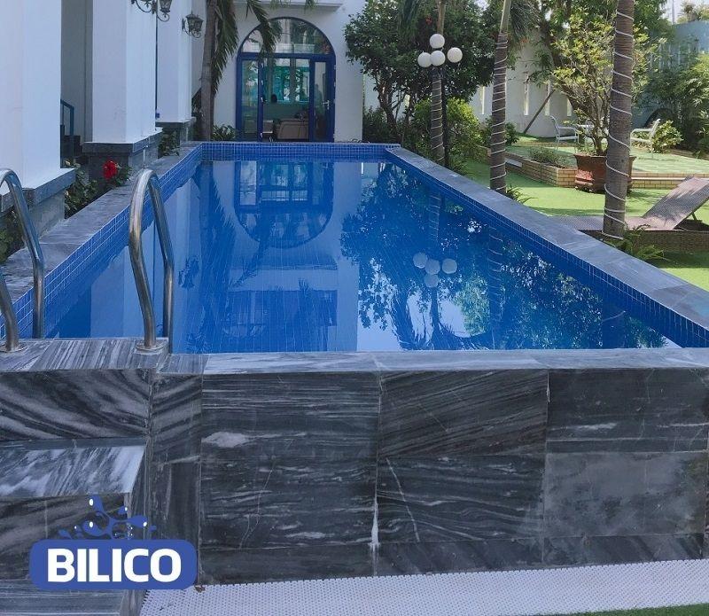 công trình bể bơi tại khách sạn anh Hồng