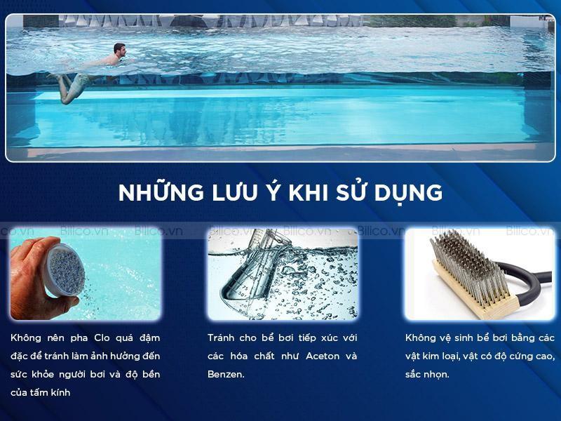 lưu ý khi sử dụng tấm acrylic hồ bơi