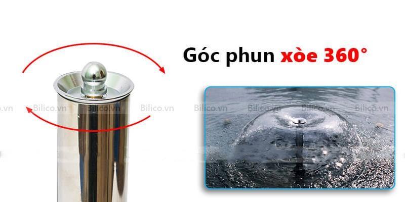Đầu phun tạo hình nấm có góc phun xòe 360 độ